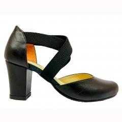 Sapato 16649 bico redondo em couro Preto