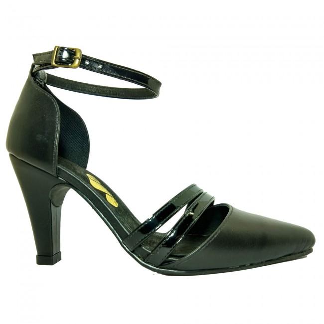 Sapato 18625 em couro e verniz Preto