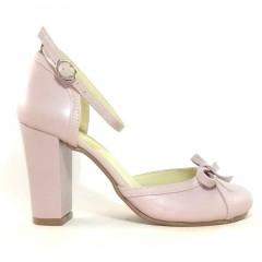 Sapato  19628 em couro Rosa Bebê