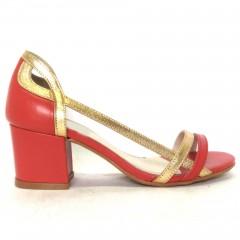 Peep Toe 5099 em couro Vermelho e Dourado