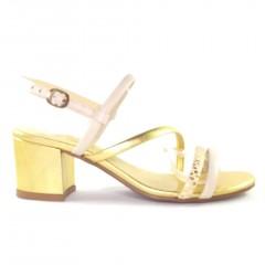 Sandália 21601 em couro Ouro e Off White