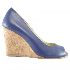 Peep Toe Anabela 16619 em couro Azul