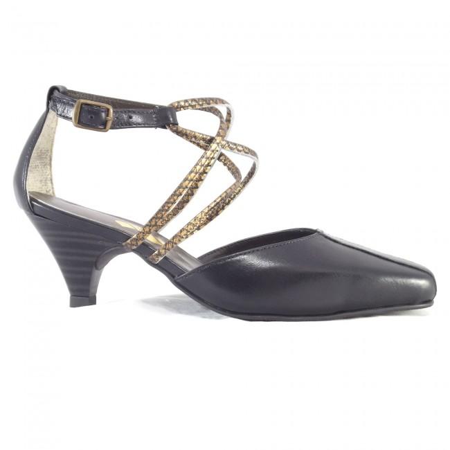 Sapato 17620 em couro Preto com Floter Ouro
